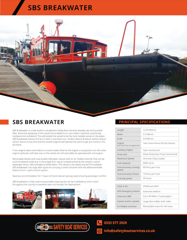 Breakwater | Vessels - Safety Boat Services