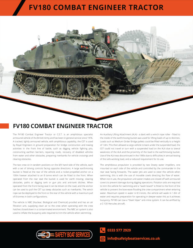 Combat Engineer Tractor | Our Fleet - Safety Boat Services