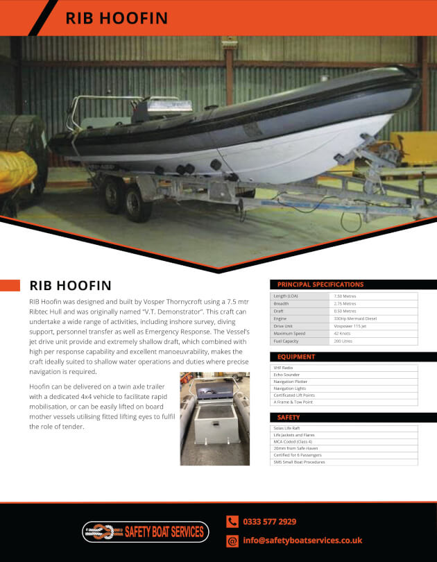 RIBS | Our Fleet - Safety Boat Services