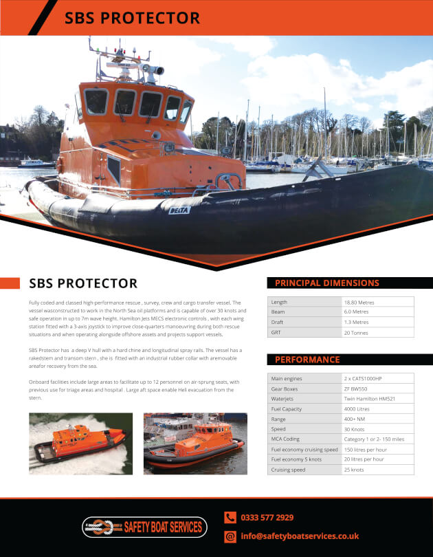 Protector | Our Fleet - Safety Boat Services