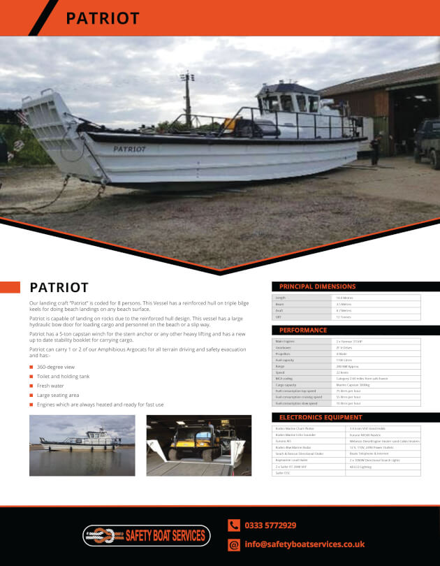 Patriot | Our Fleet - Safety Boat Services
